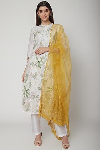White & Yellow Embroidered Kurta Set by Huemn