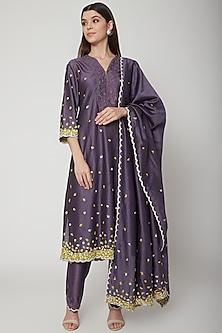 Purple Embroidered Kurta Set by Huemn