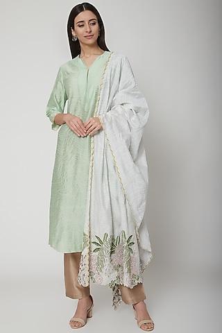 Mint Green Embroidered Kurta Set by Huemn