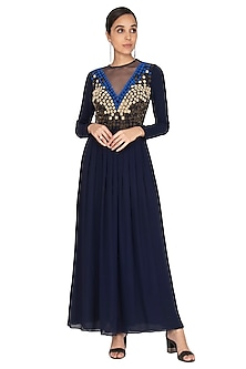 Navy Blue Embroidered Gown by Huemn