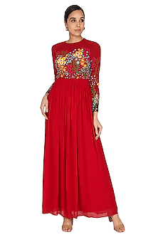 Red Hand Embroidered Gown by Huemn