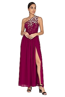 Wine Floral Embroidered Gown by Huemn