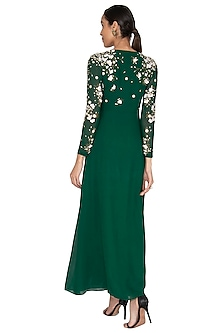Emerald Green Embroidered Knotted Gown by Huemn