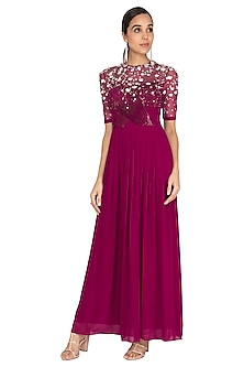 Wine Sequins Embroidered Gown by Huemn