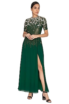 Emerald Green Embroidered Gown by Huemn