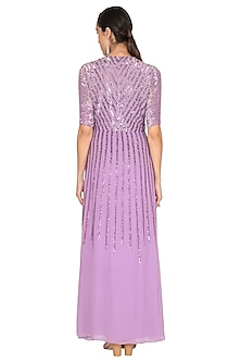 Violet Embroidered Wrap Gown by Huemn