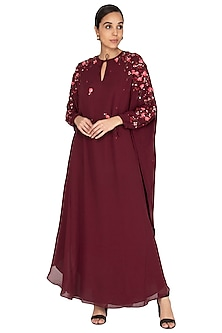 Wine Embroidered Kaftan Gown by Huemn