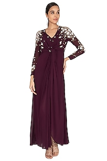 Wine Hand Embroidered Knotted Gown by Huemn