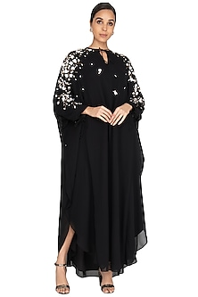Black Embroidered Kaftan Gown by Huemn