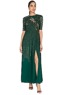 Emerald Green Sequins Embroidered Gown by Huemn
