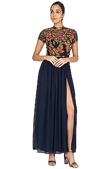 Navy Blue Embroidered Gown With Belt by Huemn