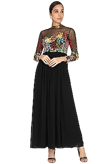 Black Embroidered Pleated Gown by Huemn