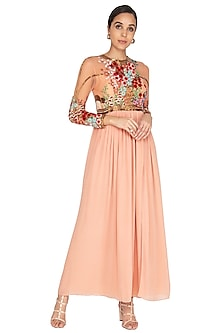 Powder Pink Embroidered Gown by Huemn