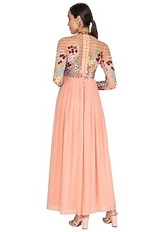 Powder Pink Embroidered Pleated Gown by Huemn