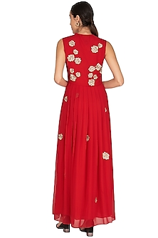 Red Embroidered Maxi Dress by Huemn