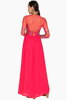 Hot Pink Embroidered Gown by Huemn