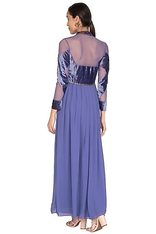 Moss Embellished Pleated Gown by Huemn