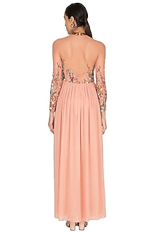 Powder Pink Floral Embroidered Gown by Huemn