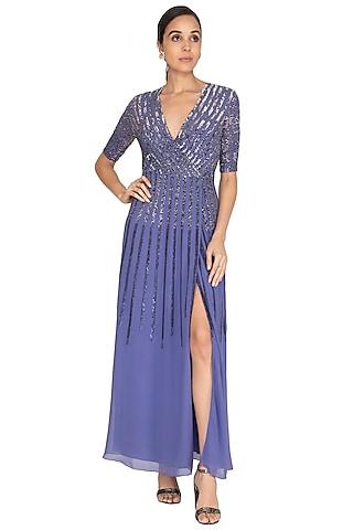 Ultra Violet Striped Wrap Dress by Huemn