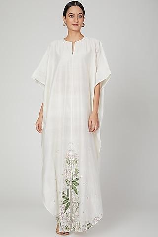 White Embroidered Silk Kaftan by Huemn