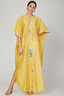 Yellow Jaal Embroidered Kaftan by Huemn
