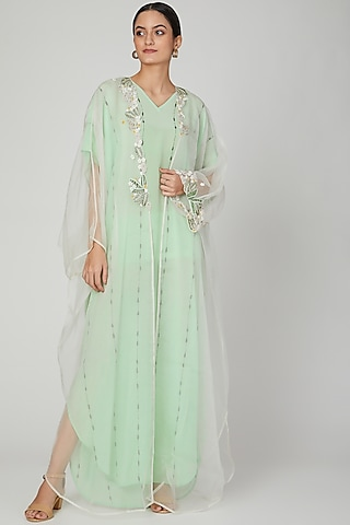Mint Embroidered Kaftan With Dress by Huemn