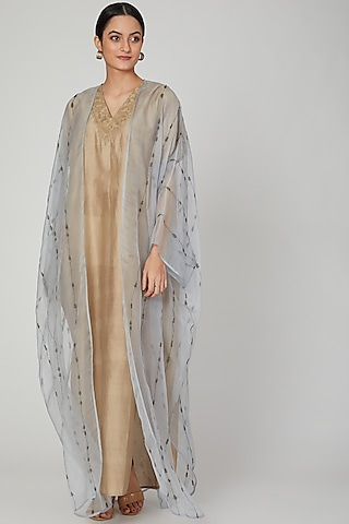 Beige Embroidered Kaftan With Dress by Huemn