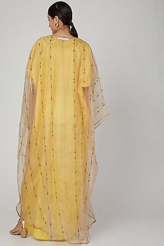 Yellow Embroidered Kaftan With Dress by Huemn