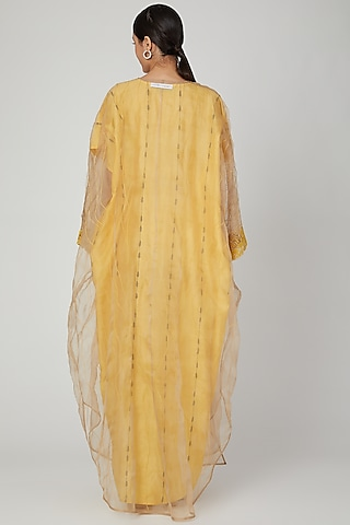 Yellow  Handcrafted Embroidered Kaftan With Dress by Huemn