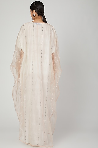 White Embroidered Kaftan With Dress by Huemn