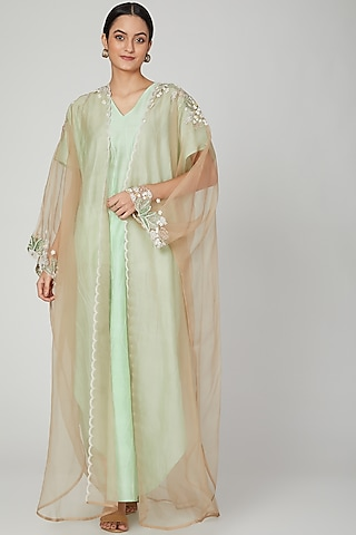 Mint Jaal Embroidered Kaftan With Dress by Huemn