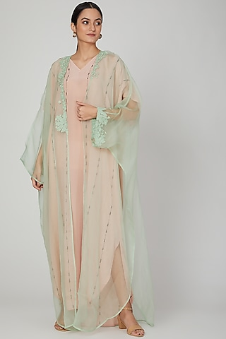 Pink Embroidered Kaftan With Dress by Huemn