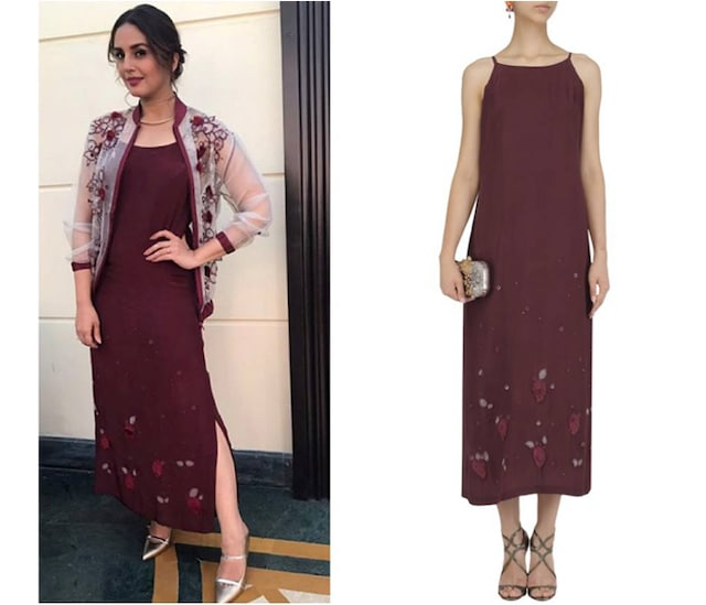 Maroon Tie Up Straps Slip Dress by Surbhi Shekhar