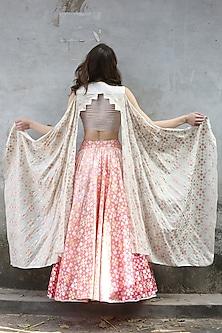 Pink Peach & Ivory Printed Draped Lehenga Set by I AM DESIGN