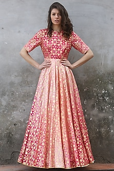Peach Pink Ombre Printed & Embroidered Gown by I AM DESIGN