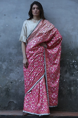 Pink Peach Ombre Printed Saree by I AM DESIGN