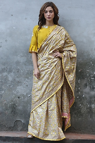 Beige Gold Printed Saree by I AM DESIGN