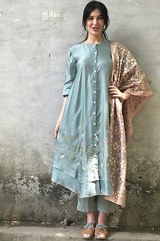 Mint Blue & Onion Pink Embroidered Printed Kurta Set by I AM DESIGN