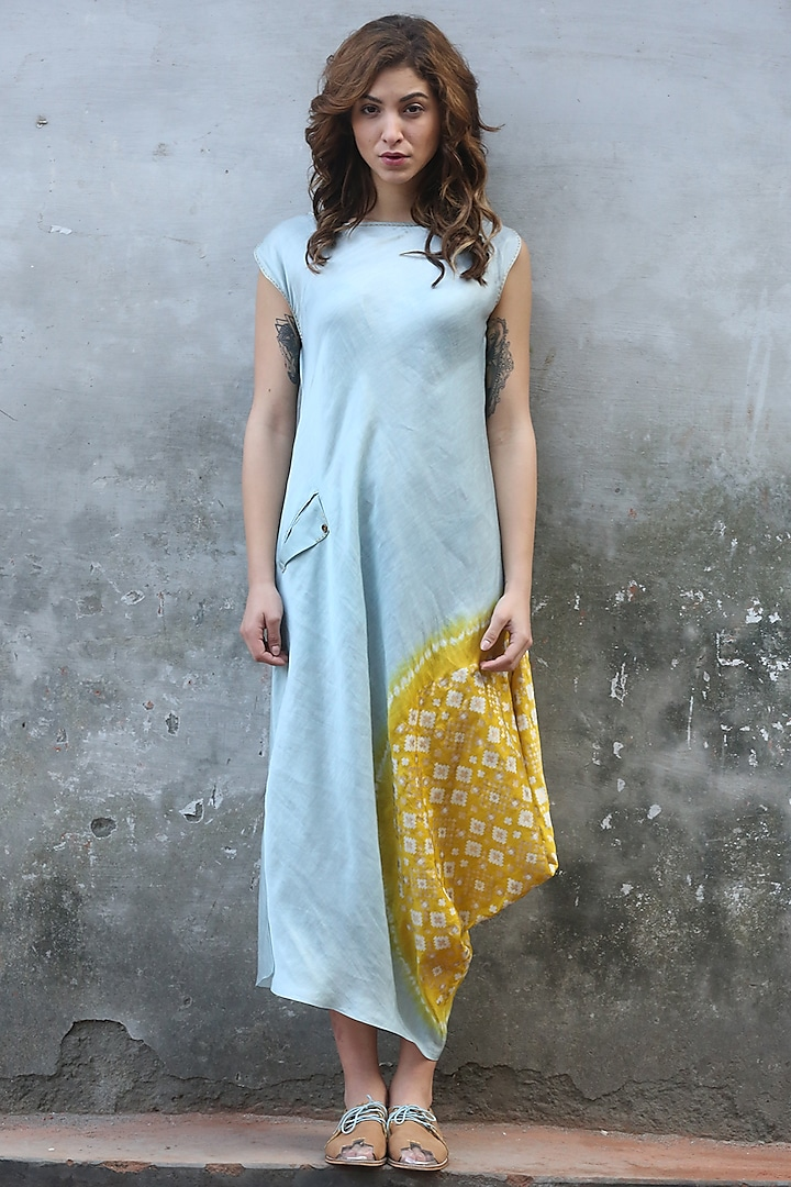 Blue & Mustard Printed Cowl Kurta Dress by I AM DESIGN