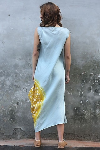 Blue & Mustard Printed Cowl Kurta Dress by I AM DESIGN
