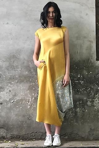 Mustard & Mint Blue Printed Cowl Kurta Dress by I AM DESIGN