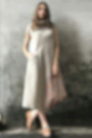 Beige & Pink Printed Cowl Kurta Dress by I AM DESIGN