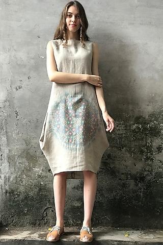 Beige & Mint Blue Tie-Dye Printed Cowl Kurta Dress by I AM DESIGN