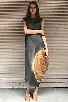 Dust Orange & Grey Printed Kurta Dress by I AM DESIGN