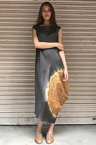 Dust Orange & Grey Printed Kurta Dress by I AM DESIGN