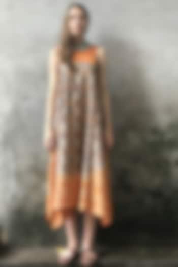 Dust Orange & Grey Printed Cowl Kurta Dress by I AM DESIGN