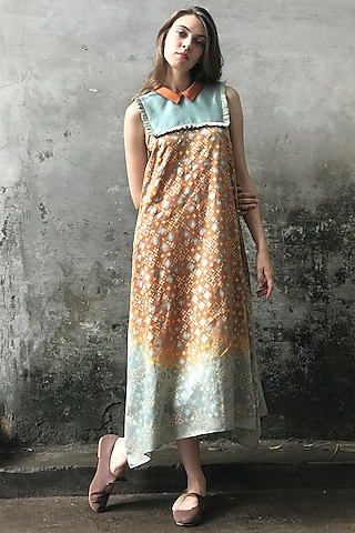 Mint Blue & Dust Orange Printed Cowl Kurta Dress by I AM DESIGN