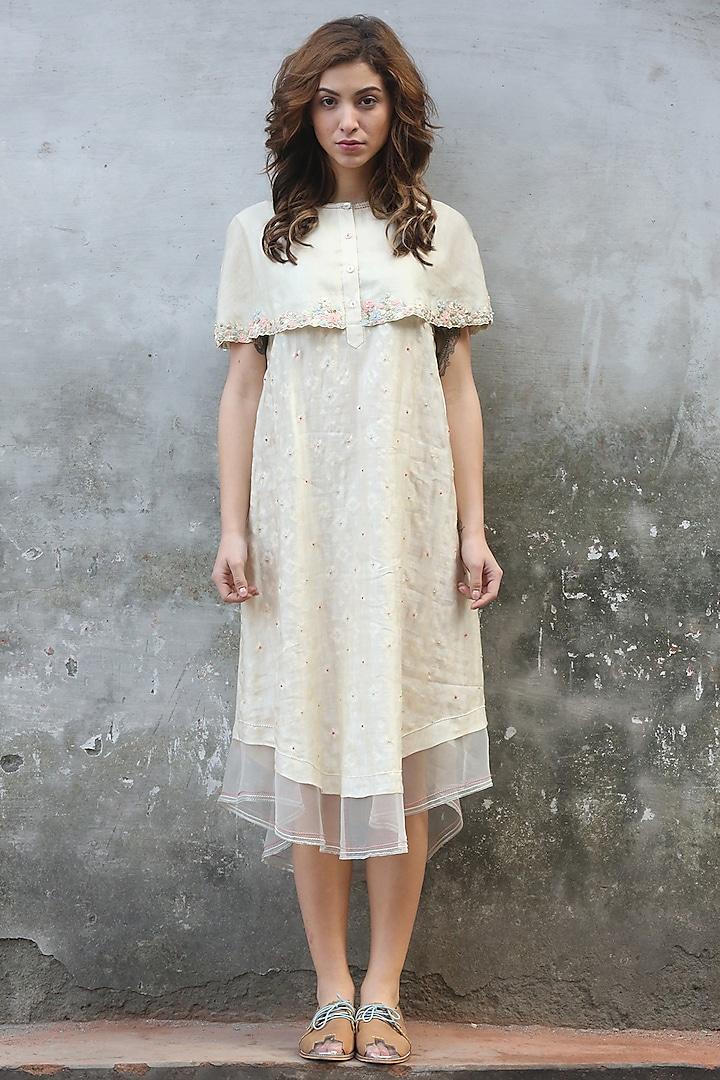 Ivory Printed & Embroidered Kurta Dress by I AM DESIGN