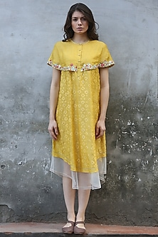 Mustard Printed & Embroidered Kurta Dress by I AM DESIGN