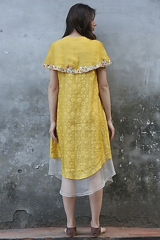 Mustard Printed & Embroidered Kurta Dress by I AM DESIGN